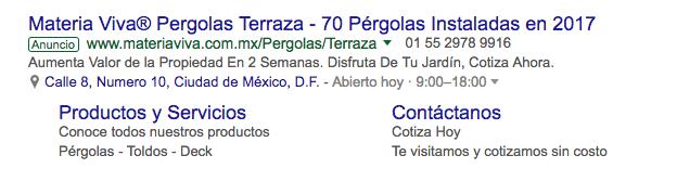 Anuncio Google Adwords Materia Viva